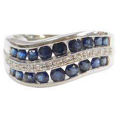 1.14 ctw Natural Sapphire and Diamond Wave Ring 14k White Gold