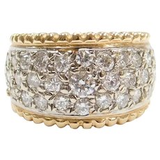 1.61 ctw Diamond Pave Band Ring 14k Yellow and White Gold