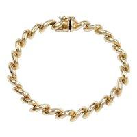 "San Marco / Macaroni Link Bracelet 14k Gold 7 1/2"" Length, 12.7 Grams"