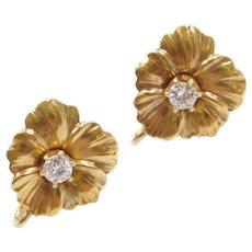 Art Nouveau .46 ctw Diamond Flower Screw-On Earrings 14k Gold