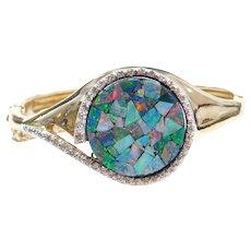 Custom Opal Chip and Diamond Hinged Bangle Bracelet with Onyx Backing 14k Gold