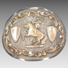 BIG Rodeo Themed Mexican Belt Buckle 14k Gold and Sterling Silver