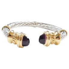 Vintage 14k Gold Two-Tone Amethyst Hinged Bangle Bracelet