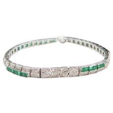 2.61 ctw Platinum Art Deco Natural Emerald and Diamond Bracelet