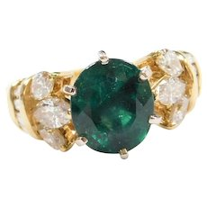4.26 ctw GIA Certified Natural Brazil Mined Emerald and Diamond 18k Gold Ring