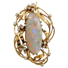 Stunning GIA Certified Natural Opal and Diamond Freeform Pendant 18k Yellow Gold
