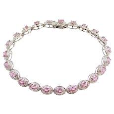 "7"" 3.32 ctw Pink Tourmaline and Diamond Line Bracelet 14k White Gold"