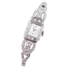 Art Deco 4.01 ctw Diamond Ladies Dress Hamilton Wrist Watch ~ Platinum and 14k White Gold