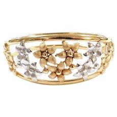 """Vintage 14k Gold Two-Tone WIDE Hinged Flower Bangle Bracelet ~ 7 1/4"""""""