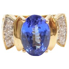 6.86 ctw Natural Tanzanite and Diamond Ring 18k Gold