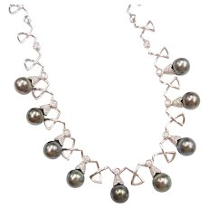"""16"""" South Seas Tahitian Pearl and 1.38 ctw Diamond Necklace 18k White Gold"""