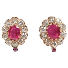 Victorian GIA Certified Created Corundum Ruby and Rose Cut Diamond 5.42 ctw Halo Stud Earrings 10k Rose Gold