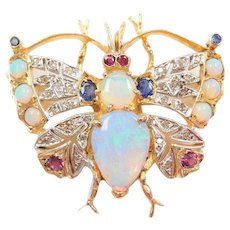 Edwardian 14k Gold 3.92 ctw Opal, Sapphire, Ruby and Diamond Butterfly Pendant / Pin / Brooch ~ Two-Tone