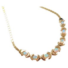 "Vintage 14k Gold 5.49 ctw Opal Necklace ~ 17 1/2"" - 19"""