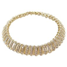 "7 3/4"" 2.25 ctw Diamond Multi-Row Link Bracelet ~ Wide!"