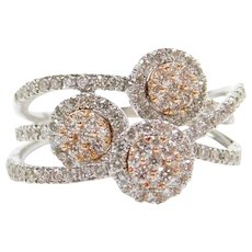 1.11 ctw Diamond Rose and White Gold Halo Ring 14k Gold