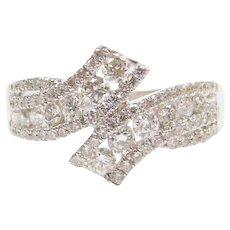 .90 ctw Diamond Bypass Ring 14k White Gold