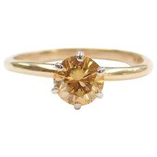 .92 Carat Natural Sunflower Yellow Diamond Solitaire Ring 14k Gold