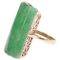 Edwardian 14k Gold Elongated Jade Ring
