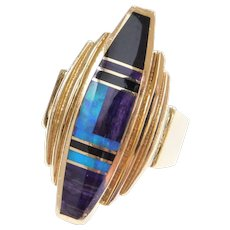 Ray Tracey Native American Solid 14k Gold Inlay Intarsia Gemstone Ring ~ Sugilite, Opal, Onyx ~ Artist Signed