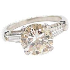 GIA Certified All Original Art Deco 2.85 ctw Diamond Platinum Engagement Ring