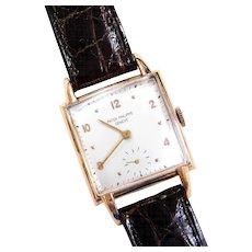 1940's Patek Philippe Gents Wrist Watch 18k Gold with Dark Brown Leather Strap