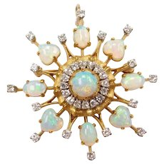 18k Gold Opal and Diamond Circular Spray Pendant / Brooch