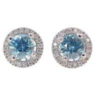 2.20 ctw Blue Topaz and Diamond Halo Stud Earrings 14k White Gold