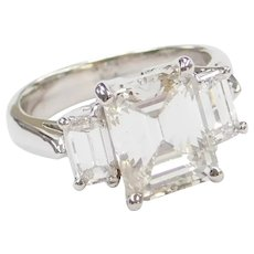 3.48 Carat Emerald Cut Diamond Past, Present and Future Engagement Ring Platinum ~ 4.78 ctw