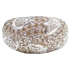 Designer Champagne and White Diamond 1.15 ctw Domed Lead Band Ring 18k White Gold LeVian