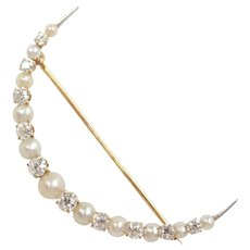 Edwardian Cultured Pearl and Diamond 1.03 ctw Crescent Pin / Brooch 18k Gold and Platinum
