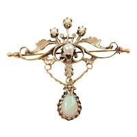 Edwardian Seed Pearl and Opal .70 Carat Pin / Brooch 14k Yellow Gold