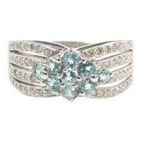 """Paraiba"" Blue Tourmaline and Diamond .87 ctw Ring 18k White Gold"