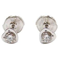 "Designer Diamond .34 ctw ""Diamants Legers de Cartier"" Heart Stud Earrings 18k White Gold with Certificate"