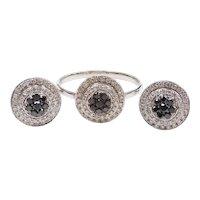 Black and White Diamond .86 ctw Double Halo Cluster Stud Earrings and Ring Bullseye Set 14k White Gold