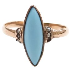 Edwardian Persian Turquoise and Seed Pearl Navette Ring 10k Rose Gold