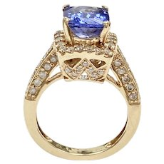 Tanzanite and Diamond 3.65 ctw Halo Ring 14k Gold