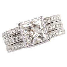 Diamond 2.77 ctw Princess Cut Engagement Ring 14k White Gold