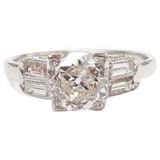 Art Deco GIA Certified Diamond 1.17 Carat (1.41 ctw) Engagement Ring Platinum