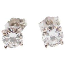 1.01 ctw Diamond Stud Earrings 14k White Gold