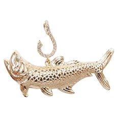 Custom Diamond .10 ctw Tarpon Fish Pendant 14k Gold