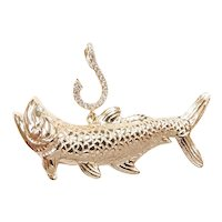 Diamond .10 ctw Tarpon Fish Pendant 14k Gold