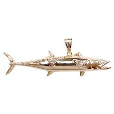 Custom Diamond .005 Carat Kingfish / King Mackerel Fish Pendant 14k Yellow Gold