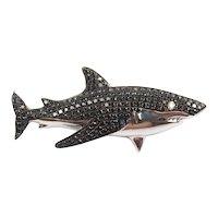 Custom Black Diamond .84 Carat Shark Fish Pendant 14k White Gold