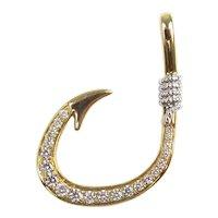 Diamond .46 ctw Custom Circle Fishing Hook Pendant 14k Yellow Gold