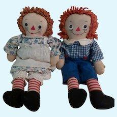 Pair Georgene Novelties Raggedy Ann & Andy Dolls