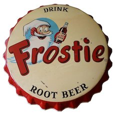 Vintage Large Frostie Root Beer Bottle Cap SIgn