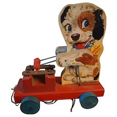 Vintage Fisher Price Merry Mutt Wooden Pull Toy - #473