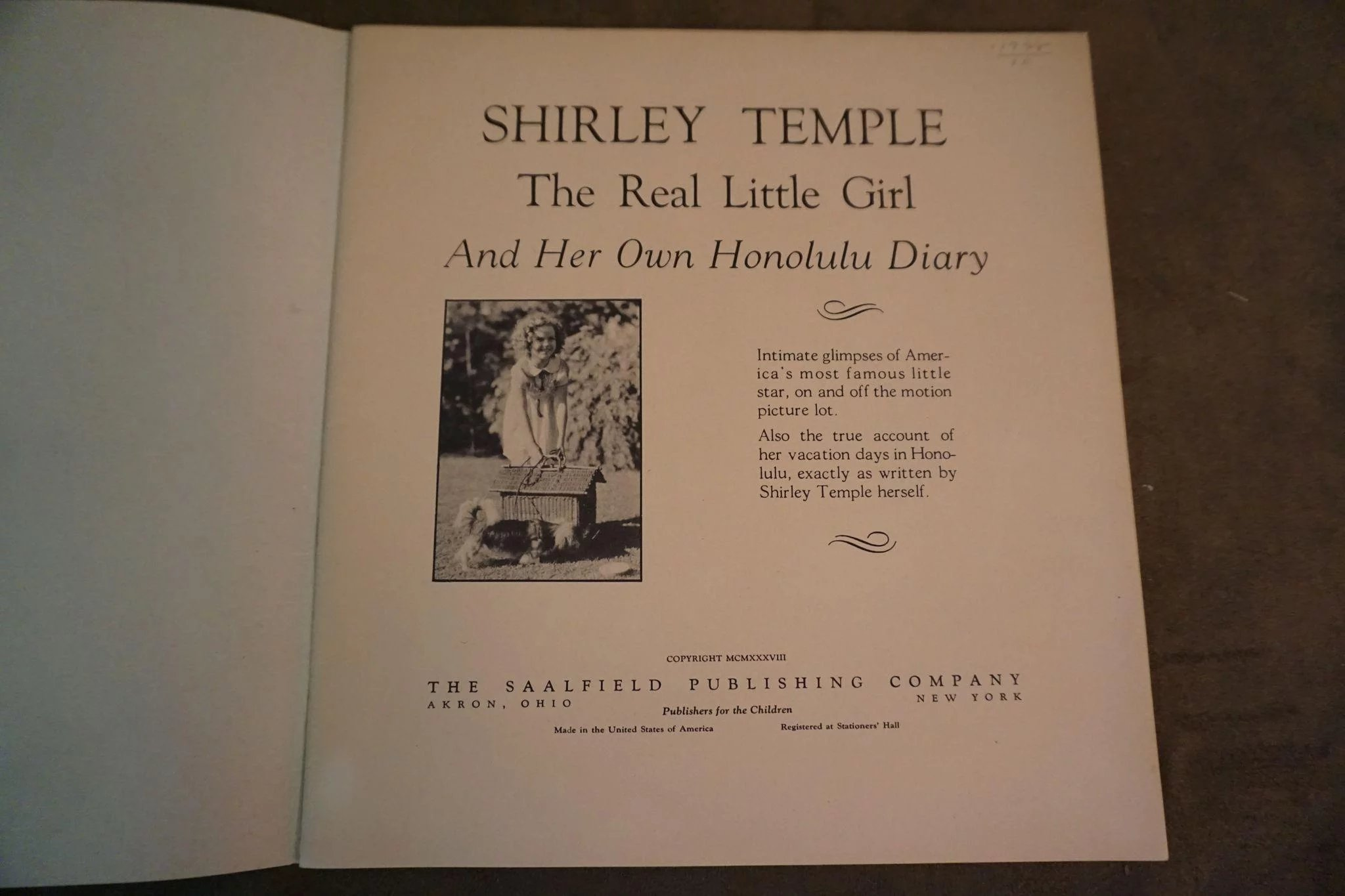 1938 Shirley Temple The Real Little Girl and Her Own Honolulu Diary Book.  Click to expand