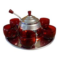 Art Deco Ruby Saturn Punch Bowl Set